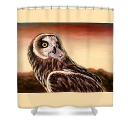 Owl At Sunset Shower Curtain