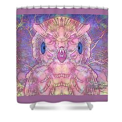 Shower Curtain featuring the digital art Owl by Barbara Tristan
