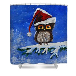 Owl Be Home For Christmas Shower Curtain