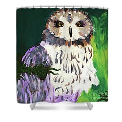 Owl Behind A Tree Shower Curtain