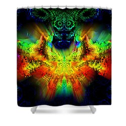 Shower Curtain featuring the digital art owl by Digital Feng Shui