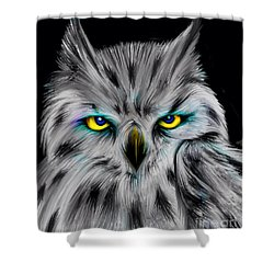 Shower Curtain featuring the drawing Owl Eyes  by Nick Gustafson