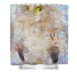Shower Curtain featuring the digital art OWL by Jim  Hatch