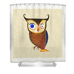 Owl Shower Curtain by Kristina Vardazaryan