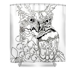 Owl Sketch 3 Shower Curtain