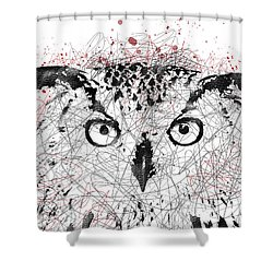 Owl Sketch Pen Portrait Shower Curtain