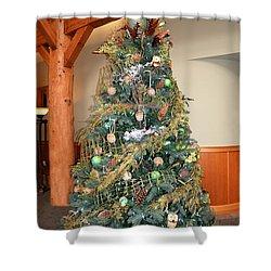 Owl Xmas Tree Shower Curtain