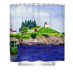 Owls Head Lighthouse Shower Curtain by Mike Robles