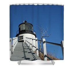 Owls Head Lighthouse Winter Shower Curtain
