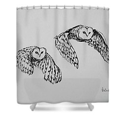 Shower Curtain featuring the drawing Owls In Flight by Victoria Lakes