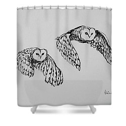 Owls In Flight Shower Curtain by Victoria Lakes