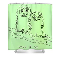 Shower Curtain featuring the drawing Owlz R Us by Denise Fulmer
