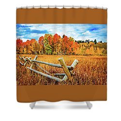 Oxbow Bend Fall Color Shower Curtain
