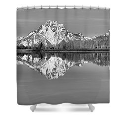 Oxbow Bend Panorama Black And White Shower Curtain by Adam Jewell