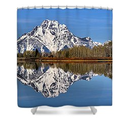 Oxbow Snake River Reflections Shower Curtain by Adam Jewell