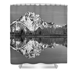 Oxbow Snake River Reflections Black And White Shower Curtain by Adam Jewell