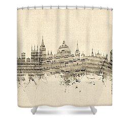Oxford England Skyline Sheet Music Shower Curtain