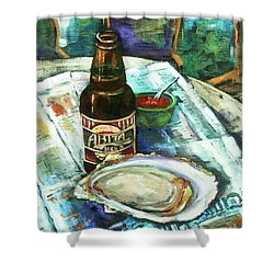 Oyster And Amber Shower Curtain