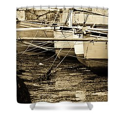 Oyster Boats Laid Up At Mylor Shower Curtain by Brian Roscorla