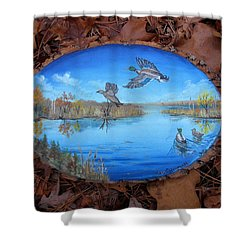 Shower Curtain featuring the painting Oyster Creek Flock by Kevin F Heuman