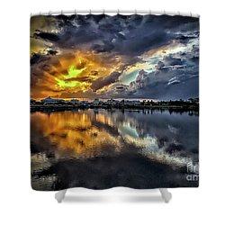 Oyster Lake Sunset Shower Curtain by Walt Foegelle