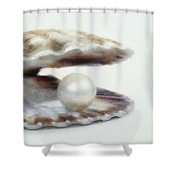 Oyster With Pearl Shower Curtain