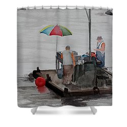 Oystering On Tomales Bay Shower Curtain