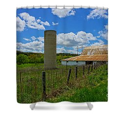 Ozarks Old Barn And Silo Shower Curtain by Jennifer White