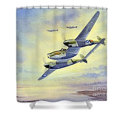 Shower Curtain featuring the painting P-38 Lightning Aircraft by Bill Holkham