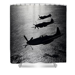 Shower Curtain featuring the photograph P-51 Cavalier Mustang With Supermarine by Daniel Karlsson