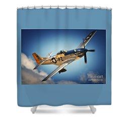 P-51 Mustang Hell Er Bust Shower Curtain