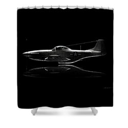 P-51 Mustang Profile Shower Curtain by David Collins