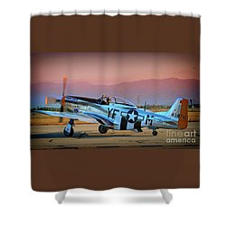 P-51d Mustang 'dakota Kid II. The Long Island Kid' And Casey Odegaard Shower Curtain