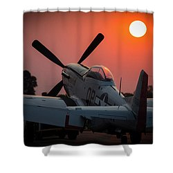 Shower Curtain featuring the photograph P51 Sunset by Paul Job