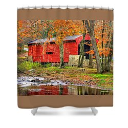 Pa Country Roads- Bartrams / Goshen Covered Bridge Over Crum Creek No.11 Chester / Delaware Counties Shower Curtain by Michael Mazaika