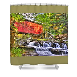 Pa Country Roads - Pack Saddle / Doc Miller Covered Bridge Over Brush Creek No. 11 - Somerset County Shower Curtain by Michael Mazaika