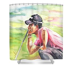 Pablo Larrazabal Winning The Bmw Open In Germany In 2011 Shower Curtain by Miki De Goodaboom