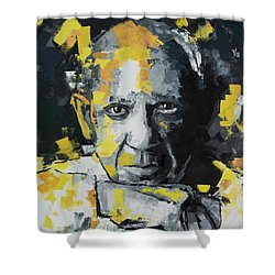 Shower Curtain featuring the painting Pablo Picasso Portrait by Richard Day