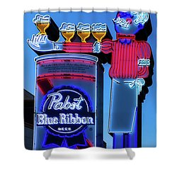 Pabst Blue Ribbon Neon Sign Fremont Street Shower Curtain