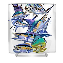 Pacific Gamefish  Shower Curtain by Carey Chen
