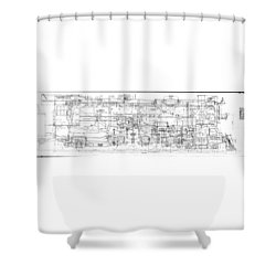 Pacific Locomotive Diagram Shower Curtain