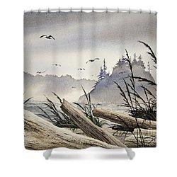 Pacific Northwest Driftwood Shore Shower Curtain