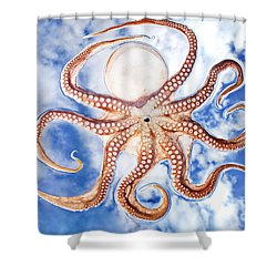 Pacific Octopus Shower Curtain by Mike Raabe