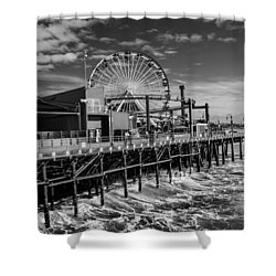 Pacific Park Bw Shower Curtain by Robert Hebert