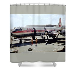 Pacific Southwest Airlines Lockheed L-188c, N376ps Shower Curtain