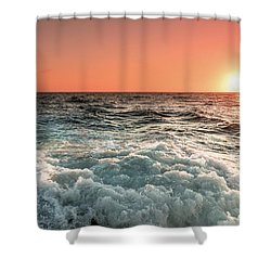 Pacific Sunset With Boat Wash Shower Curtain
