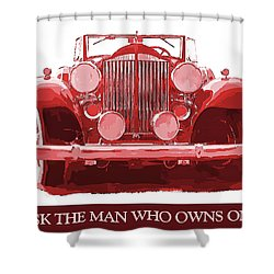 Packard Ask The Man Red Shower Curtain