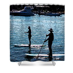 Paddle Boarding In The Marina Shower Curtain by Susan Vineyard