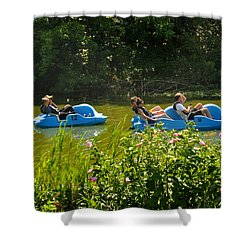 Paddle Boats In Prospect Park Brooklyn Shower Curtain by Diane Lent