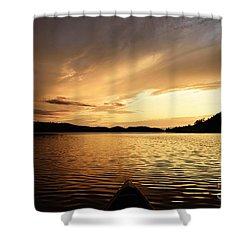Shower Curtain featuring the photograph Paddling At Sunset On Kekekabic Lake by Larry Ricker